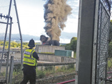Arson probe after massive fire at sewage plant
