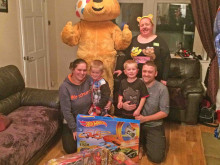 Pudsey calls in with treats for Zack and his family