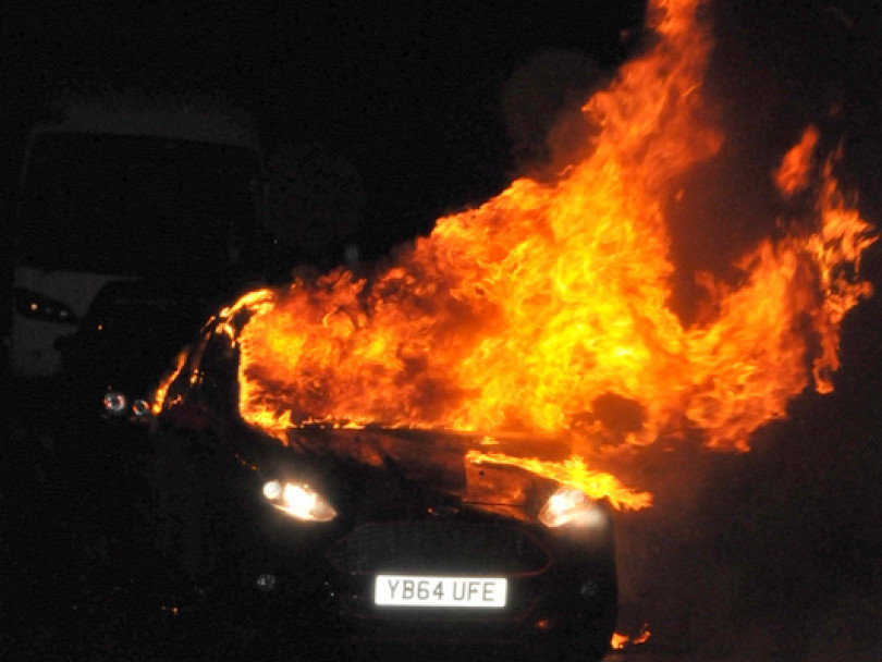 Car blaze in Staincliffe