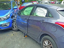 Two-car crash on one-way road