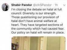 Council leader refuses to change non-stunned halal policy